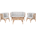 Salon de jardin 4 pièces en rotin et coussins gris-ONNO