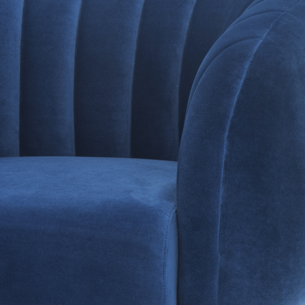 Fauteuil en velours bleu myrte-ALCEA