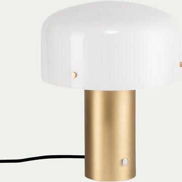 Lampe à poser en laiton et verre opale - doré H35cm-Timon