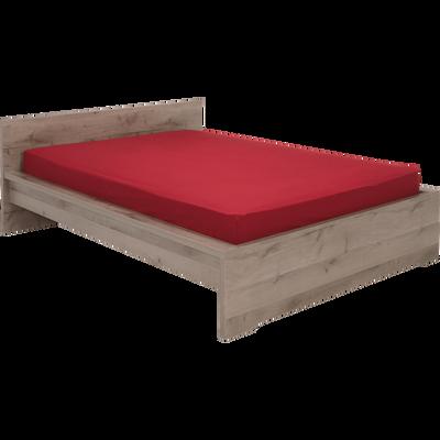 Lit 2 places avec tête de lit finition chaîne cendré - Plusieurs tailles-BROOKLYN