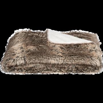 Plaid doux imitation fourrure marron 130x170cm-LOUP