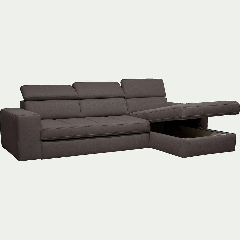 Canapé d'angle droit convertible en tissu - gris anthracite-TONIN