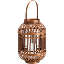 Lanterne en bambou marron H30x19,5cm-FAROS