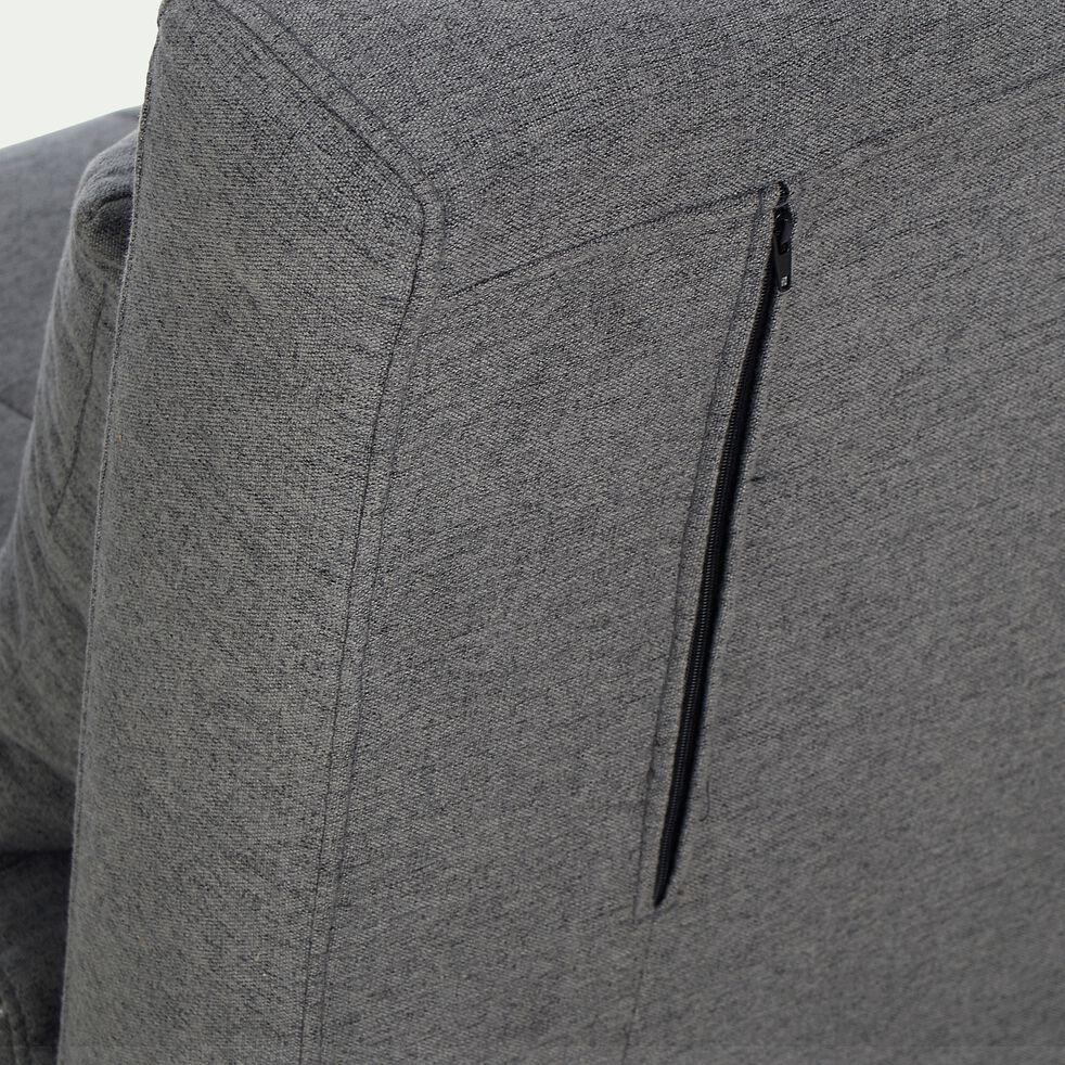 Canapé 2 places convertible en tissu - gris anthracite-NOLI