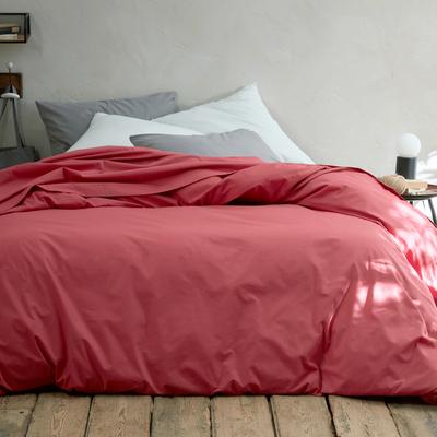 Ensemble linge de lit en coton rouge arbouse et blanc capelan-LINGE DE LIT COTON