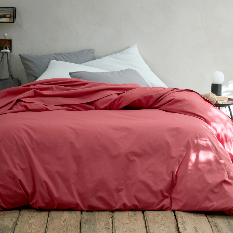 collection coton rouge arbouse et blanc capelan - linge de lit coton