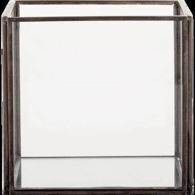 Boîte de rangement en verre noir 12x12x11cm-ASTER