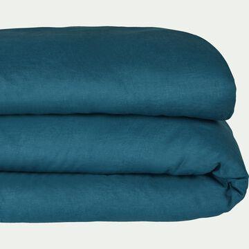 Housse de couette en lin - bleu figuerolles 140x200cm-VENCE