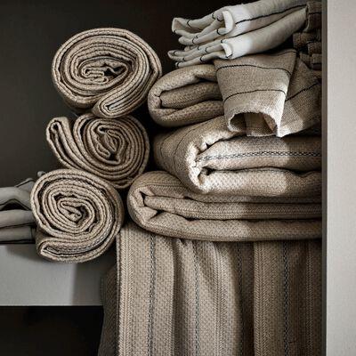 Chemin de table en lin et coton à motifs brun châtaignier 50x150cm-NAIS