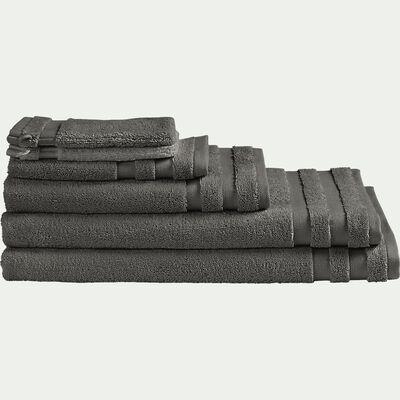 Lot de 2 serviettes invité en coton - gris restanque 30x50cm-Rania
