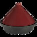 Tajine en fonte avec couvercle en céramique rouge-PADAOU