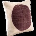 Coussin en coton écru et rouge 50x50cm-SOLAL