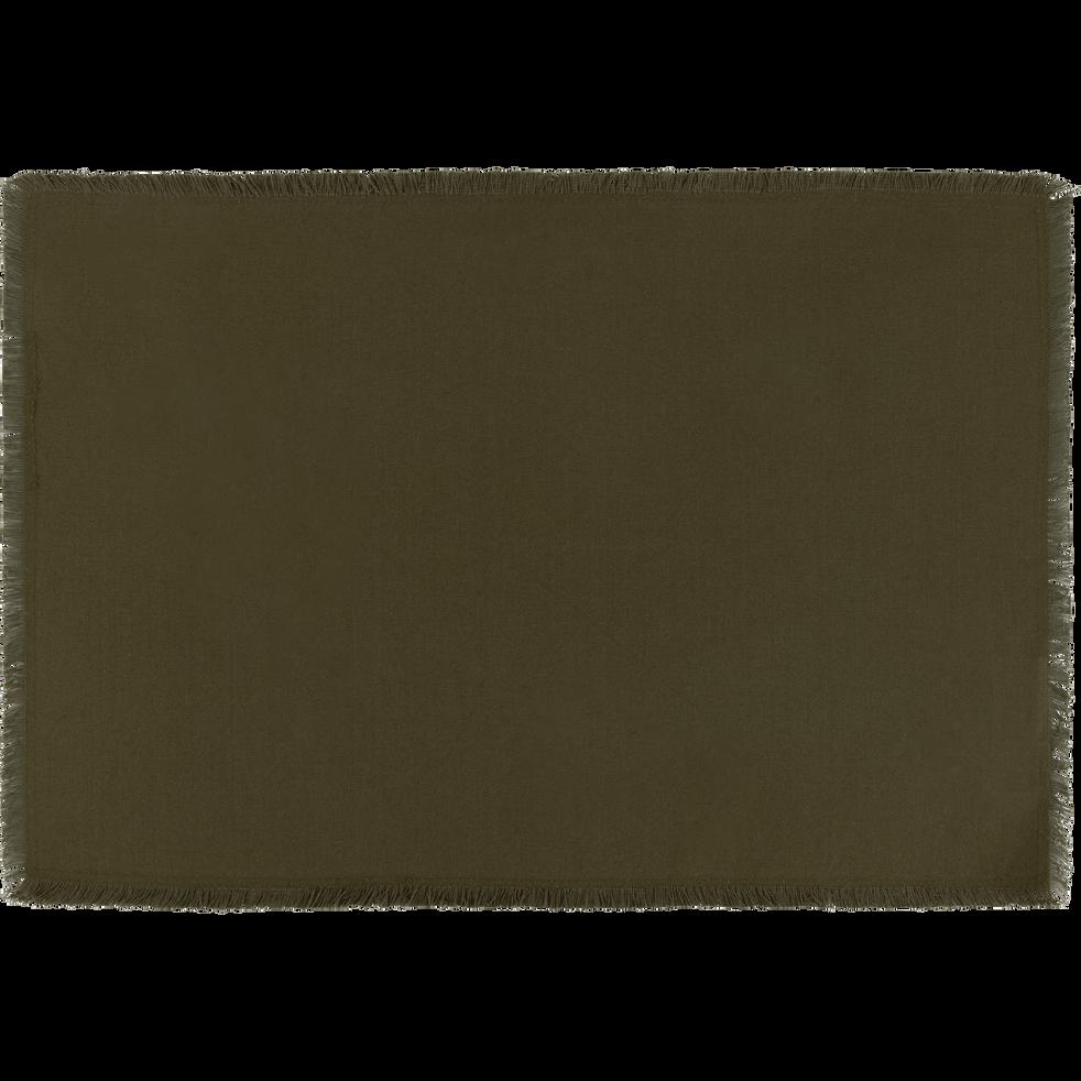 Set de table à franges en coton vert 30x45cm-DINA