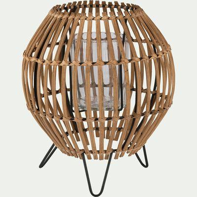 Photophore en bambou - naturel H23cm-THU