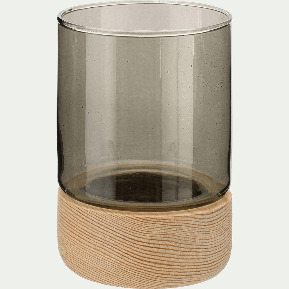 Photophore en verre sur socle en bois - gris H8,5cm-Skyro