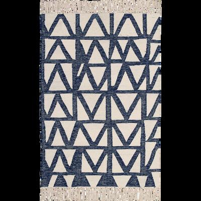Tapis tissé en laine écru et bleu 120x170cm-TRIBAL