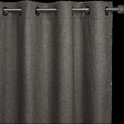 Rideau à œillets en polyester gris 140x250cm-CORBIN