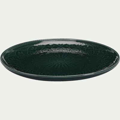Assiette à dessert en faience - D20,5cm vert-POUDHA