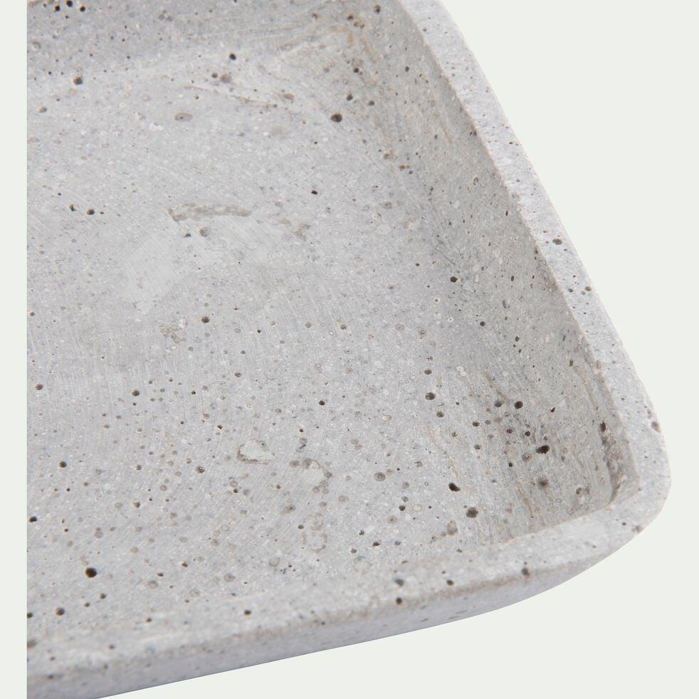 Plateau rectangulaire effet béton en polystone - gris 13,5x36cm-CALCIS