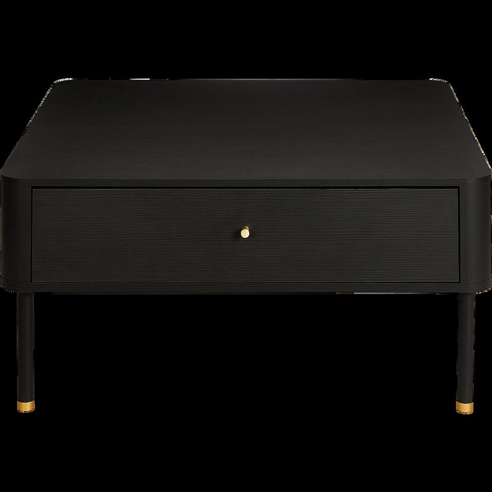 Table basse carrée noire avec tiroir-FEREL