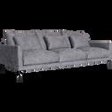 Canapé 5 places fixe en tissu - gris borie-SOZY