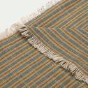 Plaid khadi en coton - gris et jaune 130x170cm-KHADI
