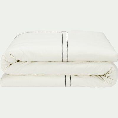 Housse de couette brodée en coton - blanc 240x220cm-GALLIA