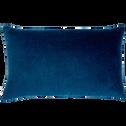 Coussin en velours bleu figuerolles 30x50cm-EDEN