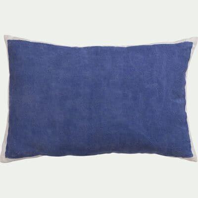 Coussin sérigraphié en lin et coton - bleu 40x60cm-OTA