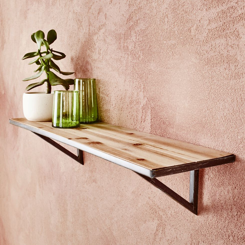 Étagère murale en bois et métal L70cm - bois clair-Fir