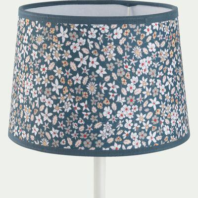 Abat-jour à poser motif fleuri d35cm en coton - multicolore bleu-Sigean