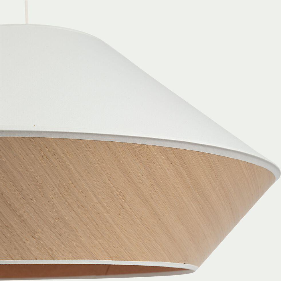 Abat-jour en tissu et chêne D60cm - blanc-DOMUS