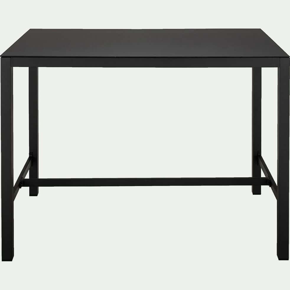 Ensemble table haute (6 places) en acier et verre trempé & tabouret de bar en acier - noir-Cahors