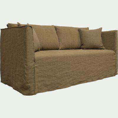 Canapé 3 places fixe en lin vert cèdre-VENCE