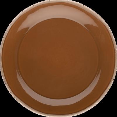 Assiette plate en faïence brun albe D27cm-LUBERON