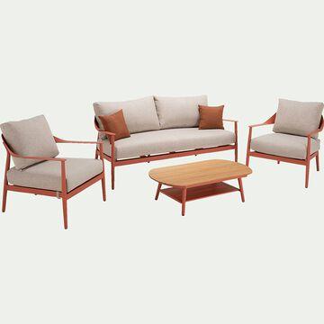 Salon de jardin en aluminium - rouge ricin (5 places)-MARINELLA