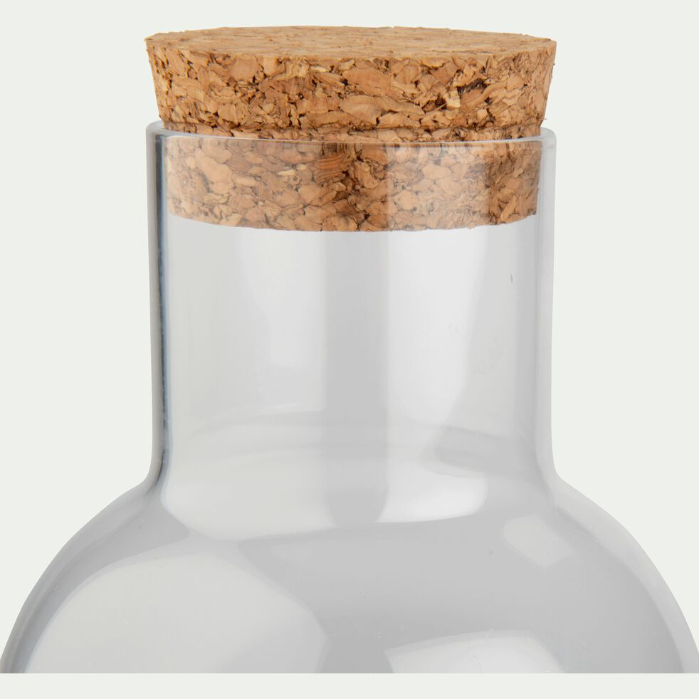Bouteille en verre transparent et bouchon de liège 1L-JUAN