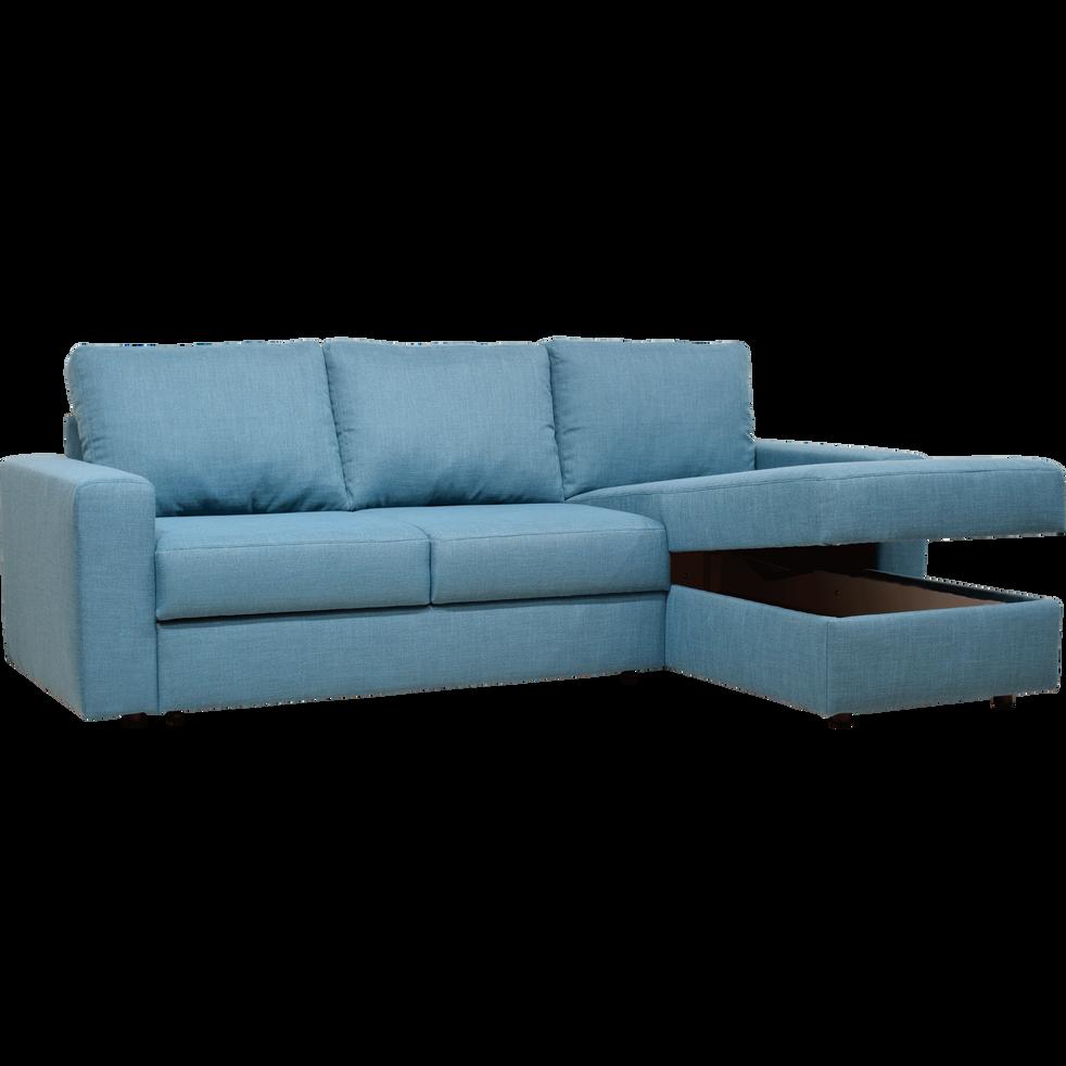 FERNAND - Canapé d\'angle réversible convertible en tissu bleu figuerolles