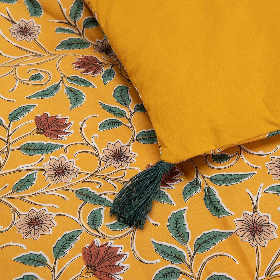 Edredon matelassé à motif en coton - jaune 100x180cm-SARI