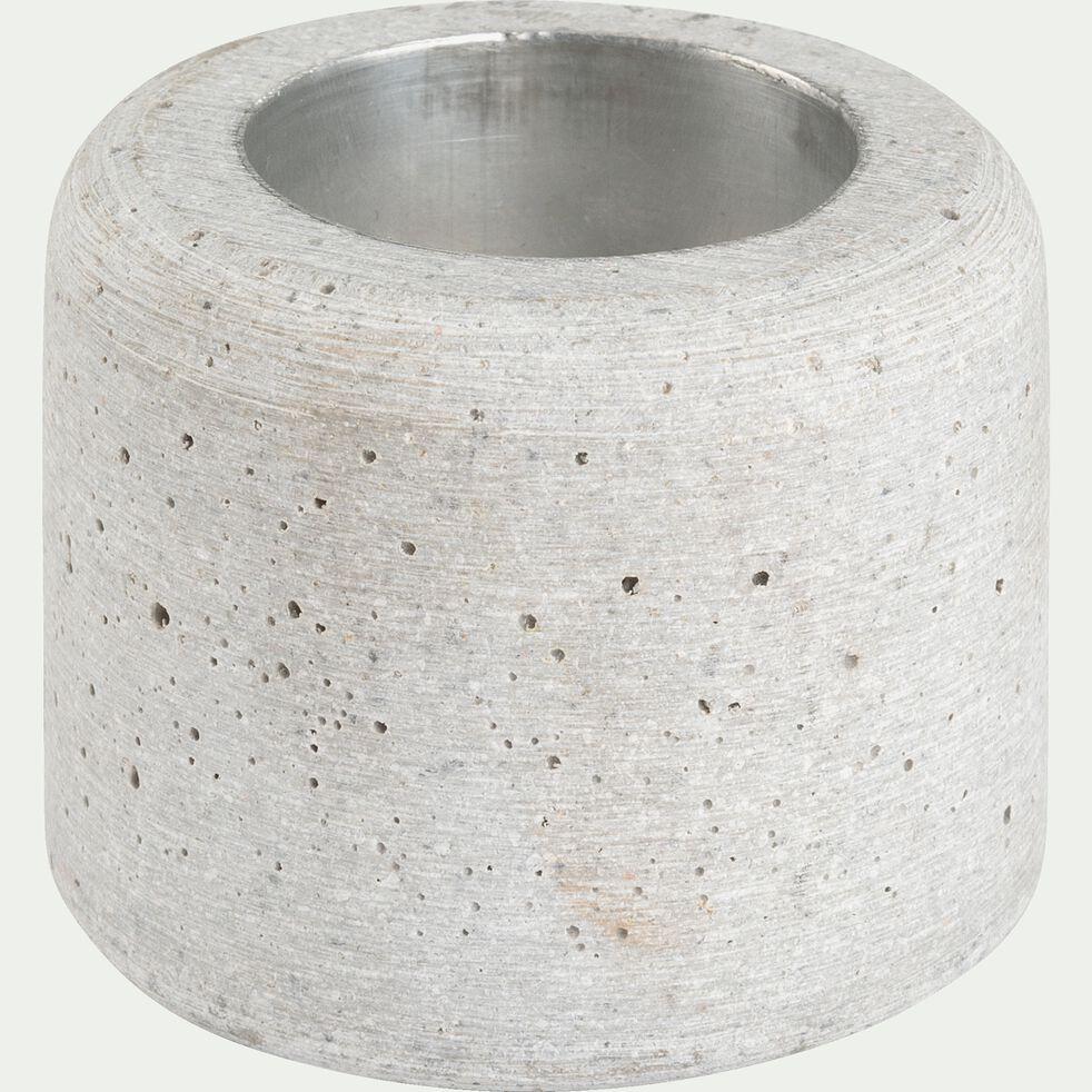 Bougeoir effet béton en polystone - gris D6,5xH5,5cm-CALCIS