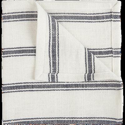 Lot de 2 serviettes de table en lin et coton noir et blanc 41x41cm-PASSO