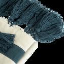 Plaid en coton écru et bleu 160x200cm-INDIRA