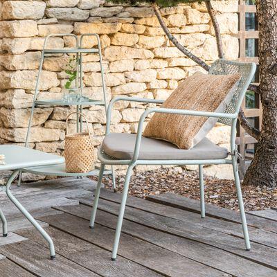 Fauteuil de jardin en métal avec accoudoirs vert olivier-SOLAYA
