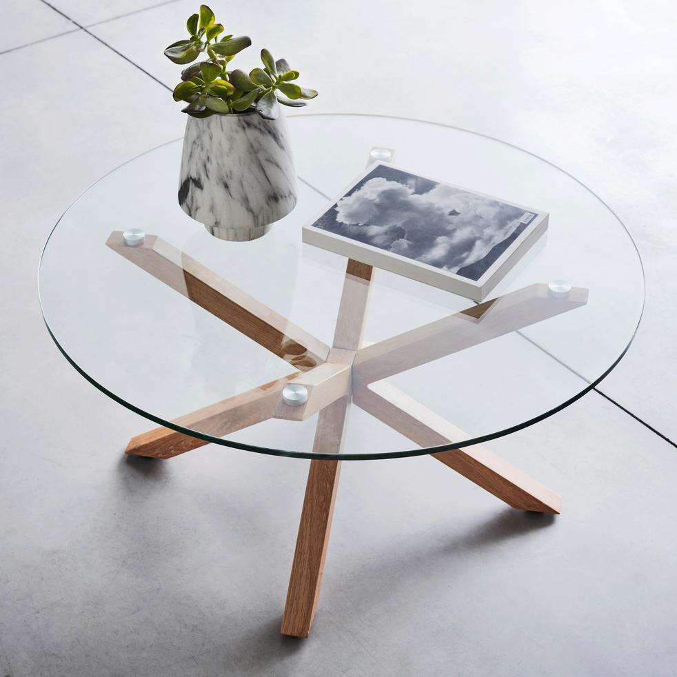 table basse ronde en verre et pi tement m tal effet bois. Black Bedroom Furniture Sets. Home Design Ideas