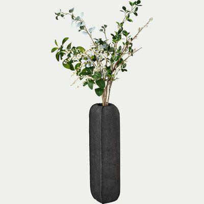 Vase en polyrésine aspect tissu - noir D14xH58,5cm-CARBONIS