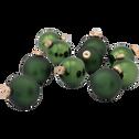 10 boules de Noël en verre vert D6cm-BOCCA