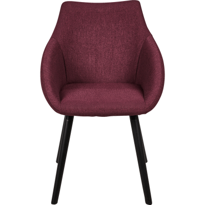Chaise en tissu rouge sumac avec accoudoirs-NOELIE