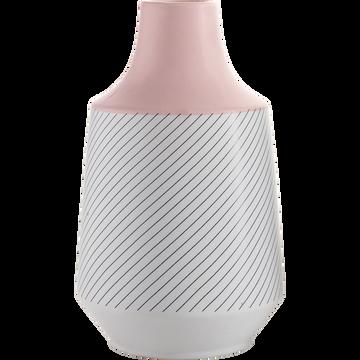 Vase en céramique rose et blanc rayé h28cm-POP