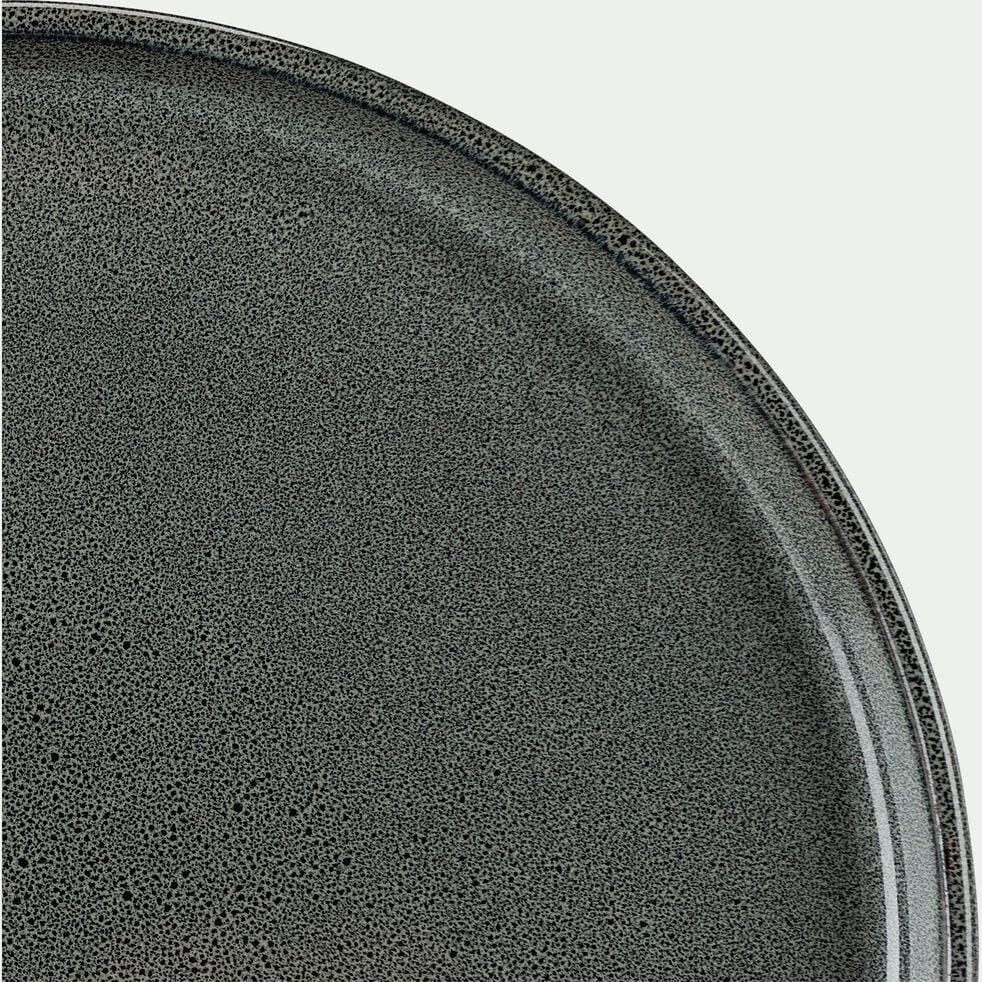 Assiette à dessert en grès émail réactif D21cm - vert foncé-PIETRA