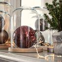 Cloche en verre et soucoupe en bois de hêtre - transparent D23,5xH38cm-LAGUNE